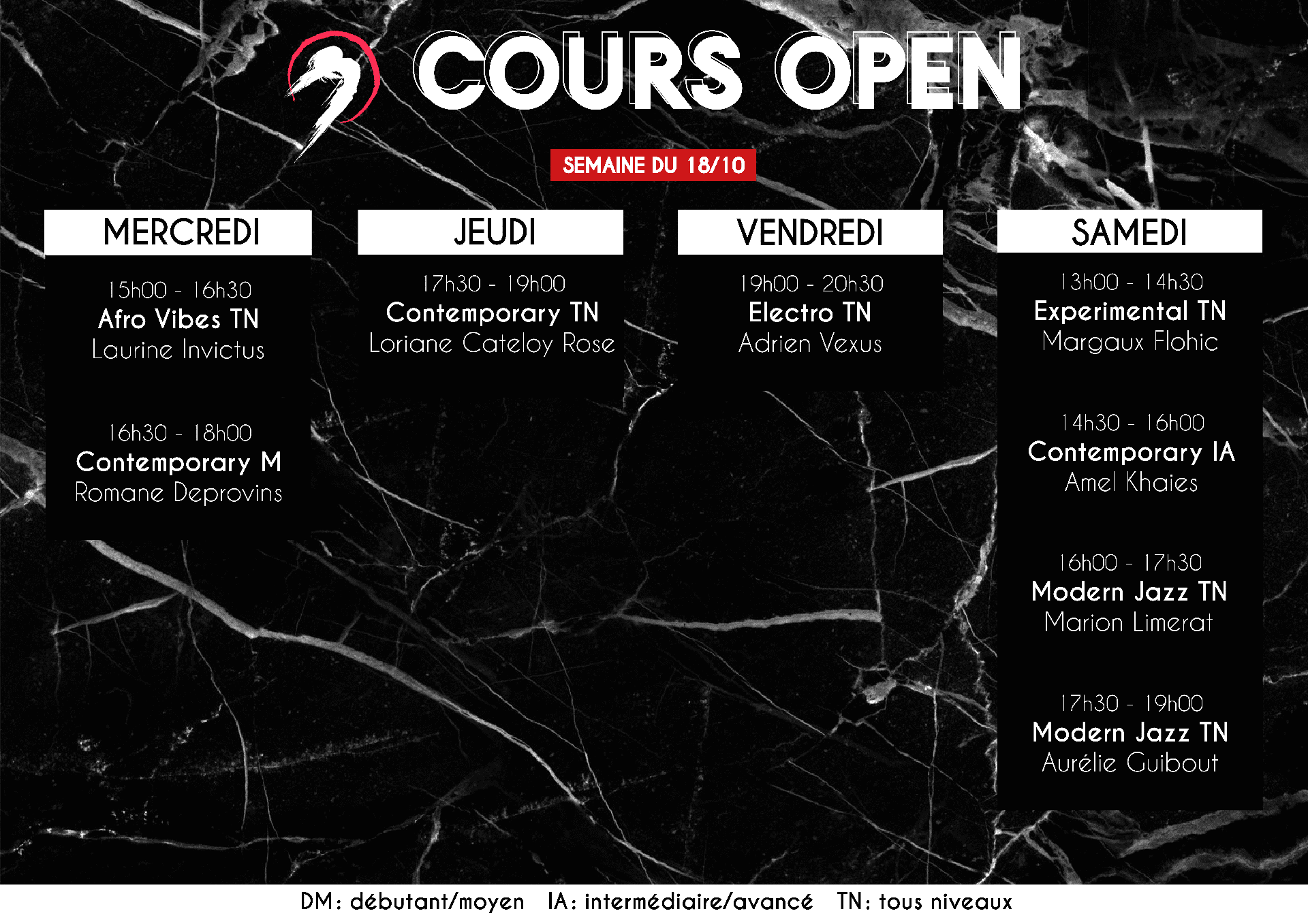 Planning semaine 18 Octobre Cours Open Neodance Academy (1)